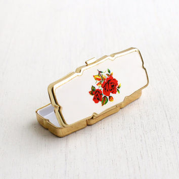 Vintage Pill Box - Gold Tone Ceramic Floral Retro Medicine Case - Made in Japan / Trinket Box