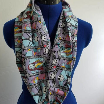 disney - nightmare - before - christmas - jack - skellington - sally - infinity  - scarf