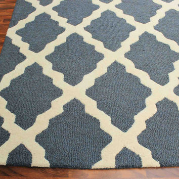 Grill Blue 5 x 8 Floral Persian Style Wool Area Rug