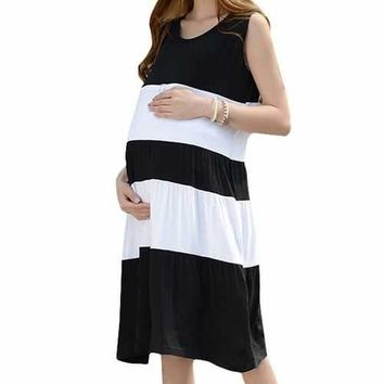 Summer Stripe Maternity Nursing Dresses