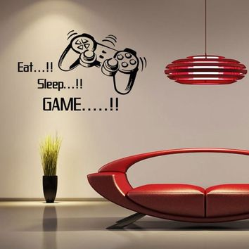 Eat Sleep Game Letters Game Controller Vinyl Wall Stickers for Boys Bedroom Home Decorations Hot Sale