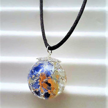 Fairy Orb Necklace, Marbled Pendant, Gift for Teens, Beach Jewelry, Fairy Jewelry, Unisex Necklace, Hand Strung Necklace, Festival Jewelry