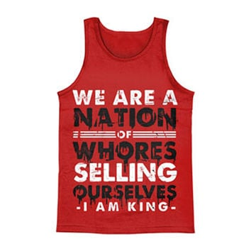 I Am King Men's  Nation Of Whores Mens Tank Red Rockabilia