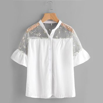 Floral Mesh Yoke Shirt White Embroidery Sheer Blouse Women Button Up Summer Tops Ruffle Cuff Patchwork Cute Blouse