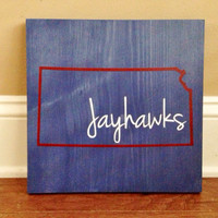 Pick Colors, Kansas Wood Sign, Custom Kansas State Sign, Stained and Hand Painted, Personalize, Kansas decor