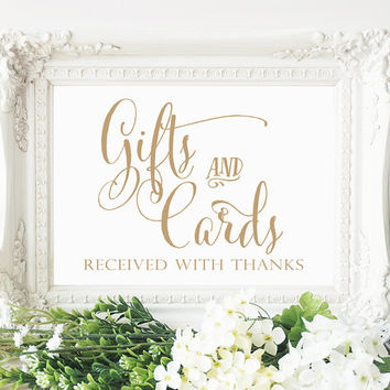 Gifts and Cards Sign - 5 x 7 sign - Printable sign in 'Bella' antique gold script - PDF and JPG files - Instant Download