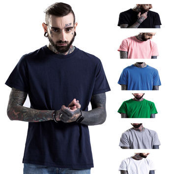 Tops Short Sleeve Cotton Casual Round-neck T-shirts [9724849219]
