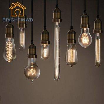 BRIGHTINWD Retro Lamp Vintage Edison Bulb E27 Incandescent Bulb 220v Holiday Light 40w Filament Lamp Lampada For Home Decoration