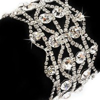 Bridal Wedding Jewelry Crystal Rhinestone Vintage Dazzle Wide Bracelet Silver - Like Love Buy