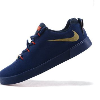 Discount LeBron 12 NSW Lifestyle Low Navy Blue Gold Brand sneaker