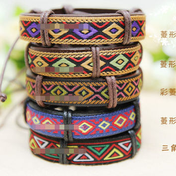 Free Shipping 2017   New Fashion Jewelry Hot Nepal Ethnic Handmade Leather Bracelet Women Men Retro Leather Lanyard Strap sa075