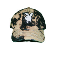 Vinatge Culture Playboy Patched Distressed Dad Hat In Bleach Black