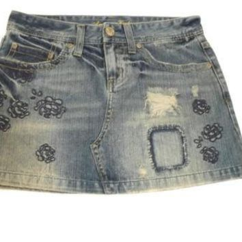 American Eagle Hot Distressed Ripped Short Jean Denim Skirt Size 2