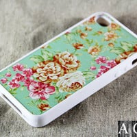Classic Floral iPhone 4 iPhone 4S Case, Rubber Material Full Protection