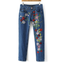Flowers embroidered jeans woman dark blue As photo