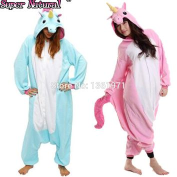 HKSNG  Flannel Unicorn Animal Pajamas Adult Cartoon Pikachu Totoro Panda Stitch Kiguruma Onesuits Cosplay Costumes