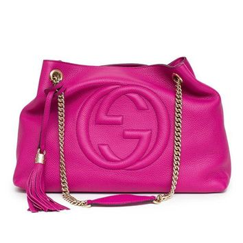 DCCKUG3 Gucci Soho Leather Shoulder Bag Pink Bright Bouganvillia Leather Handbag