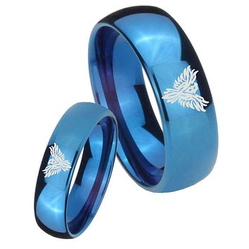 His Hers Mirror Blue Dome Phoenix Tungsten Carbide Wedding Rings Set