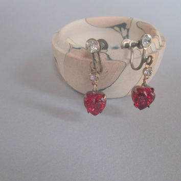 Vintage Costume Earrings with Red Hearts and Rhinestones