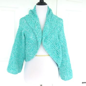 Aqua Plus Size Circle Shrug, Handmade Crochet