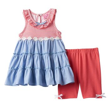 Nannette Tiered Dress & Bike Shorts Set - Baby Girl, Size: