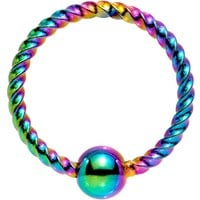 "18 Gauge 5/16"" Rainbow Anodized So Twisted Captive Style Seamless Ring"