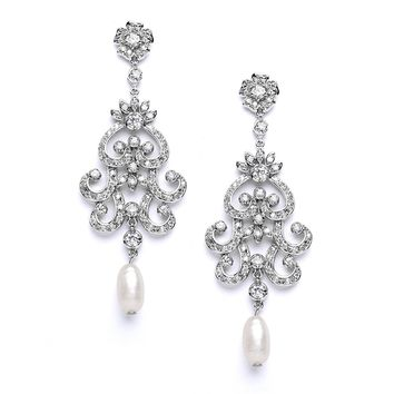 Mariell Gatsby-Style CZ Vintage Wedding Chandelier Earrings for Brides - Genuine Freshwater Pearl Luxury