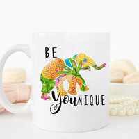 Be Younique Quote Mug, Elephant Peace Mug, Elephant Decor, Coworker Gift, Thank you Mug, Graduation Mug, Funny mug, AAA_001