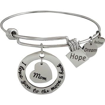 Stainless Steel Expandable Charm Bangle Bracelet I Love You to the Moon and Back Mom