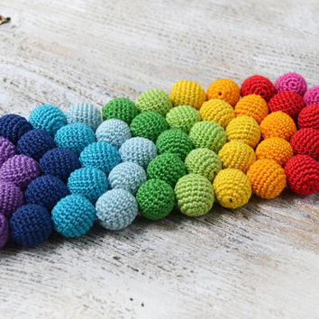18mm Crocheted Round Beads 20/50/100pcs - Wood Beads - Rainbow Colors Crocheted Beads - Beads for teething necklace - Beads for Necklace