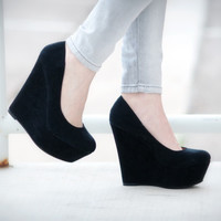 DbDk Klenny-5 Suede Round Toe Platform Wedge Black Heel | Shoes 4 U Las Vegas