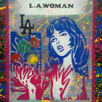 Lichtenstien style painting,comic,girl,L.A.woman,stencil art,graffiti,spray paint,canvas,Los Angeles,America,pop art,doors,wall,home,living,
