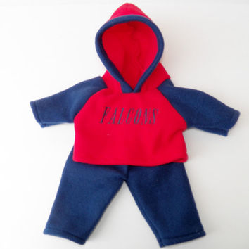 """bitty baby clothes, doll boy, girl or 15"""" twin, red nave Blue Falcons, Hoodie, Hooded , fleece pants, ,american made by adorabledolldesigns"""