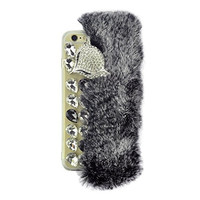 "S&C Cute Luxury Crystal Rhinestone Fox Soft Fur Bling TPU Back Case Cover Phone Case for iPhone 6 Plus 6S Plus (5.5"") Black"