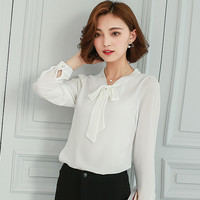 Women long sleeve chiffon blouses shirt 2016 Spring Autumn Fashion vintage office tops plus size bow v neck blouse blusa A554