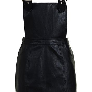 Buckle Detail Leather Look Pinafore Dress | Boohoo