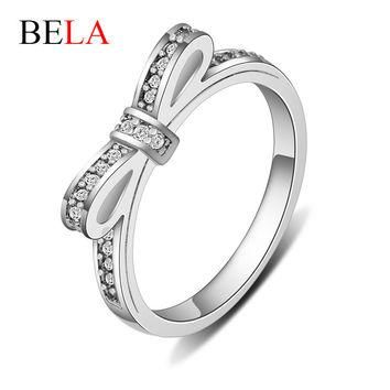 Authentic 100% 925 Sterling Silver Sparkling Bow Knot Stackable Ring Fit Pandora Rings