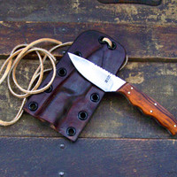Custom Neck Knife, EDC Knife, Skinning Knife with Custom Leather Sheath