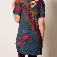 Criss-Cross Tie-Dye Tunic - Grey