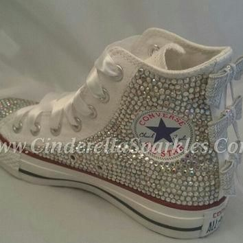 white chuck taylor high top crystal rhinestone converse with sequin bows wedding bri
