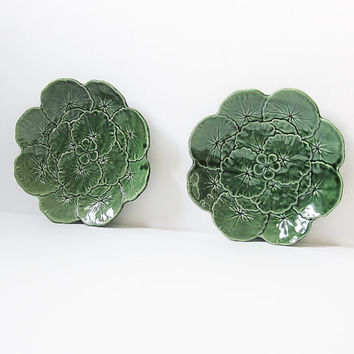 Vintage Faiancas Belo Majolica Pottery Portugal Geranium Leaf Lily Pad Nasturtium Cottage Garden Shabby Chic Romantic French Country Decor