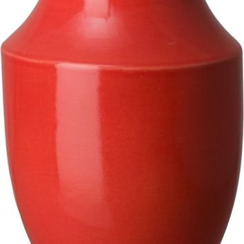 Bella Shoulder Vase With A Coral Red Glaze