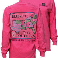Southern Couture Blessed To Be Southern Comfort Colors Long Sleeves T-Shirt