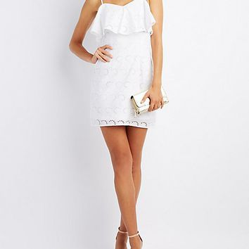 Ruffle-Trim Eyelet Dress