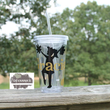 16 oz Personalized Tumbler with Lid and Straw - Cheerleading