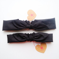 Pretty Cute Bunny bow Bandana style Bow Headband Mommy & Daughter pair set black solid :) Spring Summer collection by Love Factory