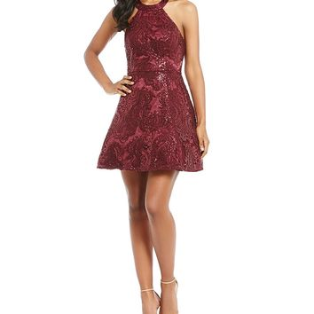 Sequin Hearts Sequin Pattern Fit and Flare Dress | Dillards