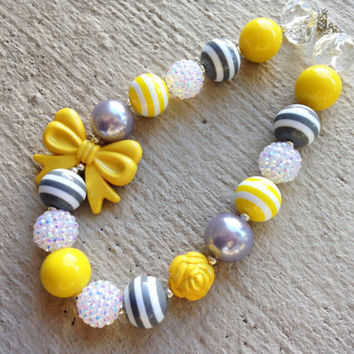 Yellow, Grey, and White Chunky Necklace - Large Bead Necklace with Bow - Bubblegum Necklace - Baby Necklace- Toddler Necklace- Girl Necklace