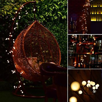 2.5m/8.2ft Flexible 72-LED Rattan Style String Light Bendable Warm White Globe Lamp with 8 Modes Memory Function Waterproof Decoration for Garden Home Patio Lawn Wedding Christmas Festival Party EU Plug AC 220V