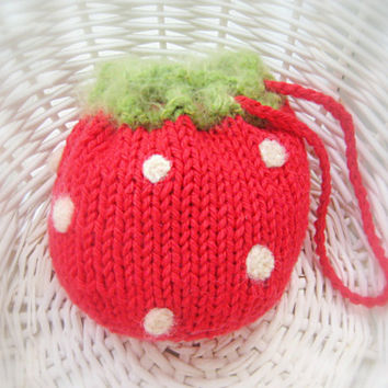 Strawberry Purse Pouch  Fruit Cozy  Knit by NewEnglandQuilter